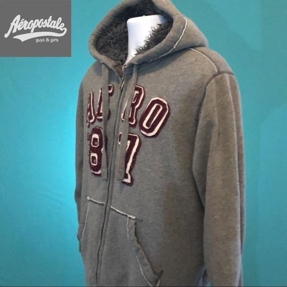 Aeropostale Hooded Sweatshirt Fleece Line Full Zip